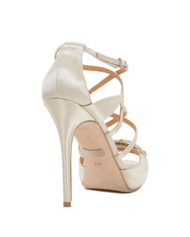 Badgley mischka Fischer Strappy Peep Toe High Heel in White | Lyst