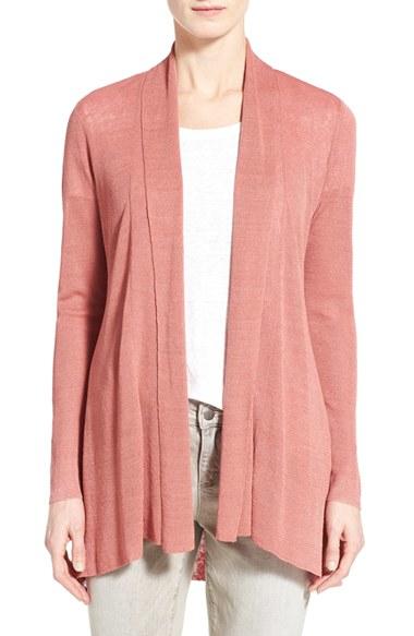 Eileen fisher Organic Linen Blend Shaped Open Front Cardigan in ...