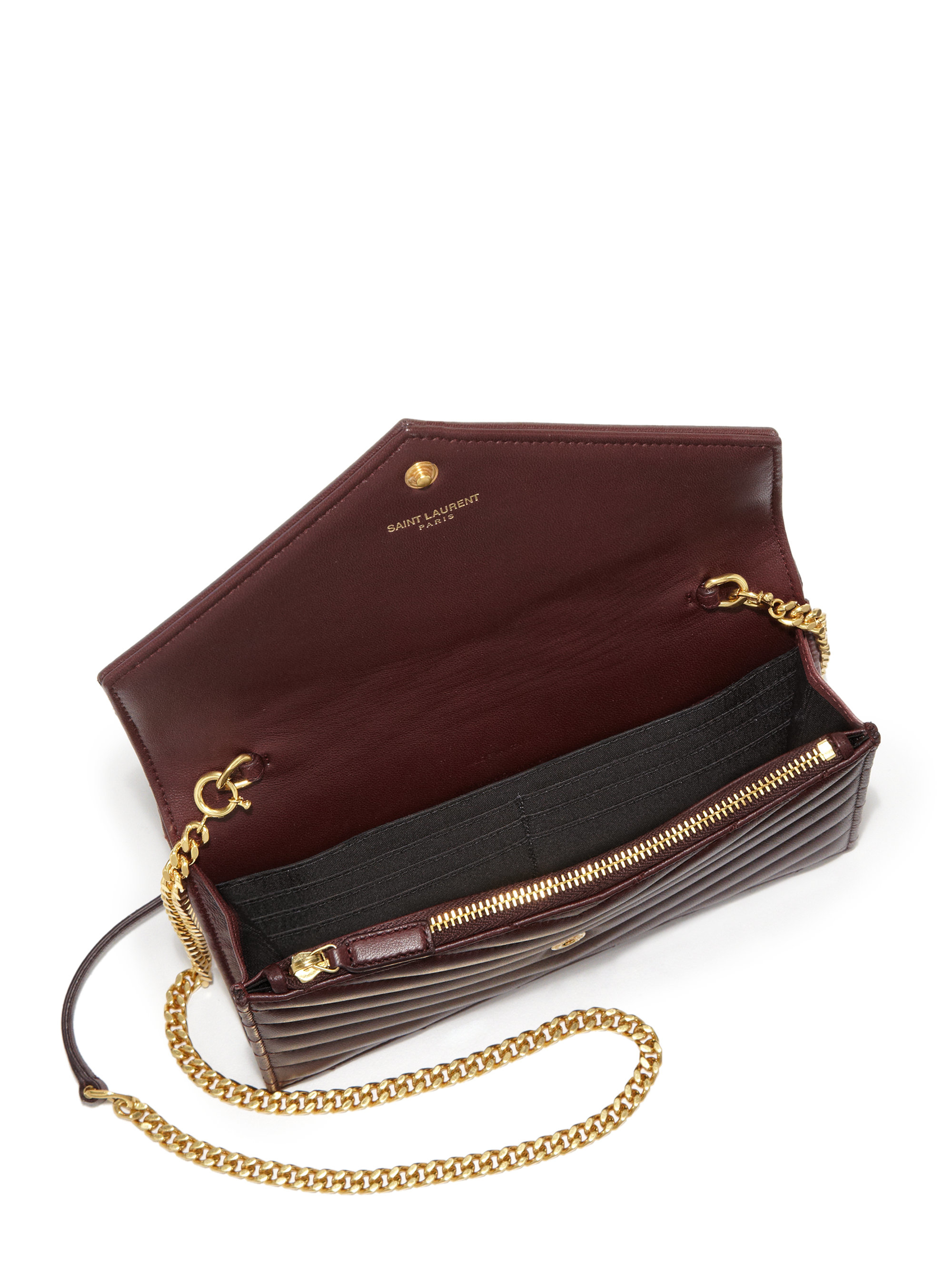 3b9ed9ff97651 ysl clutch gold chain - monogram saint laurent chain wallet in silver  grained metallic leather