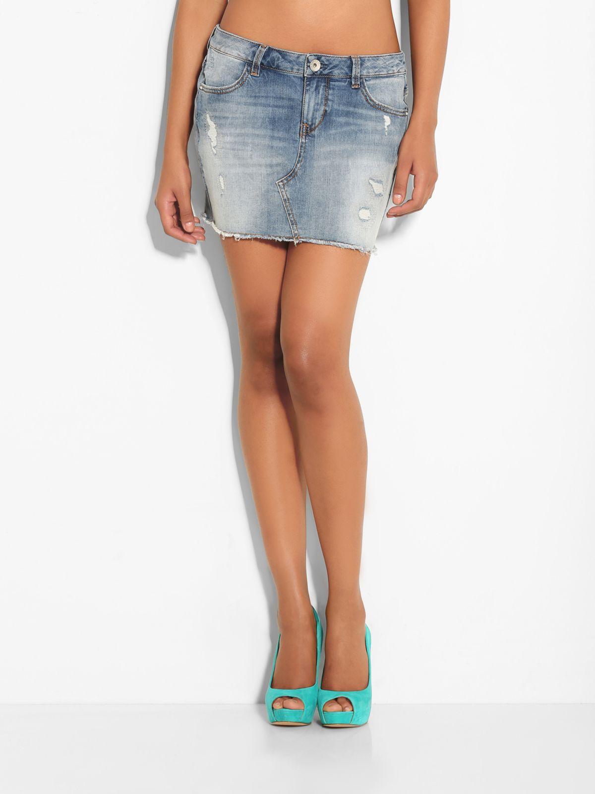 guess seasonal mini denim skirt in blue lyst