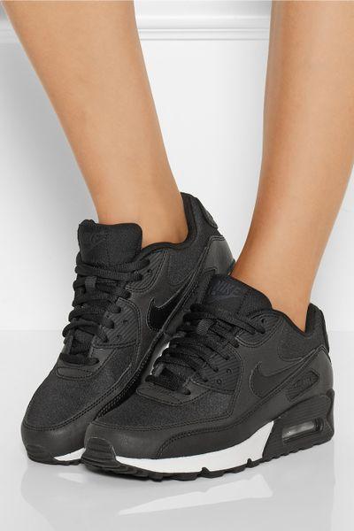 Femmes Nike Air Max 90 Cuir - Femmes 27s Noir Patent Cuir Nike Air Max 90 Nikes Réduction Pas Cher