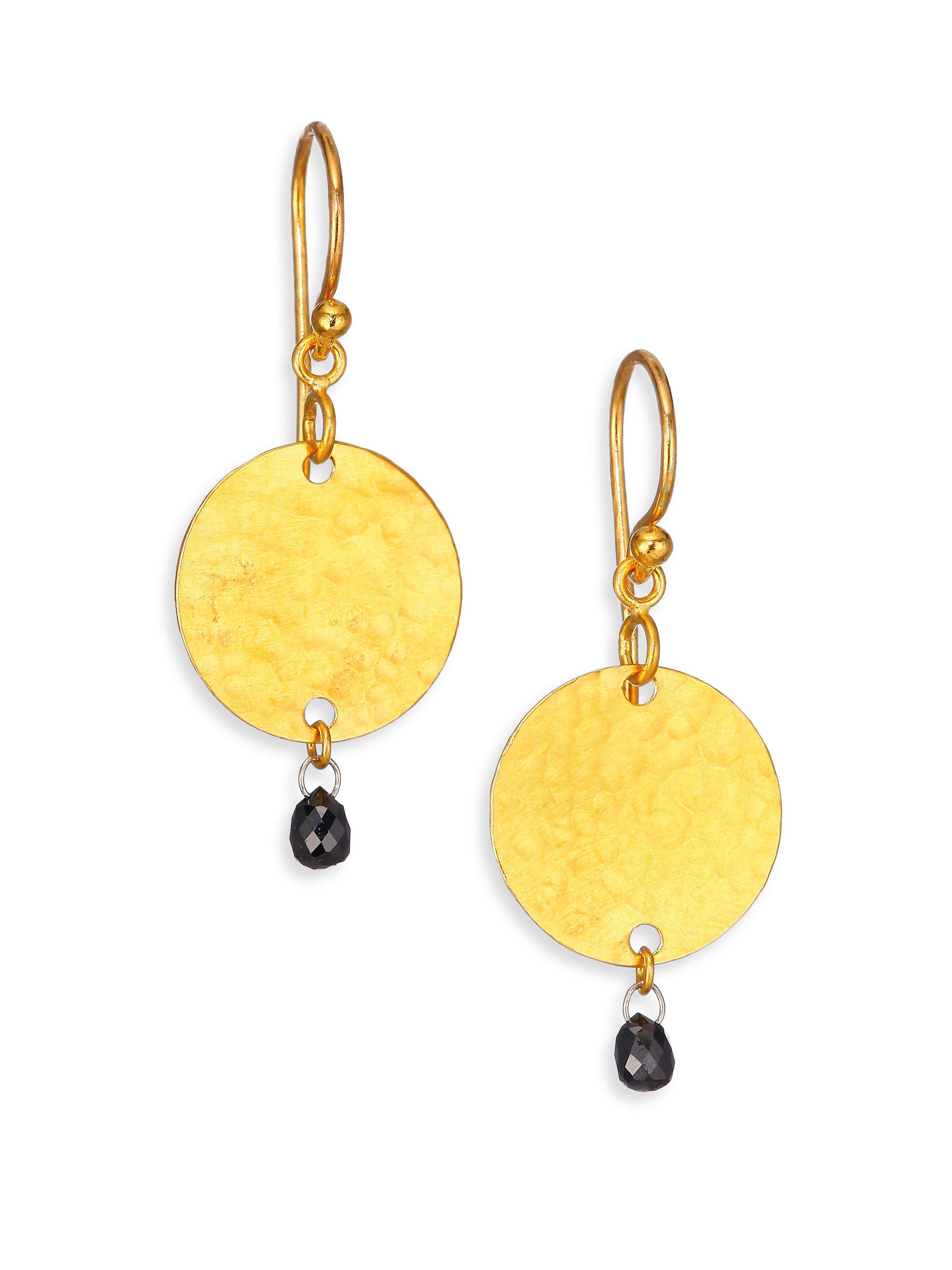 Gurhan Lush Black Diamond & 24k Yellow Gold Small Flake Drop