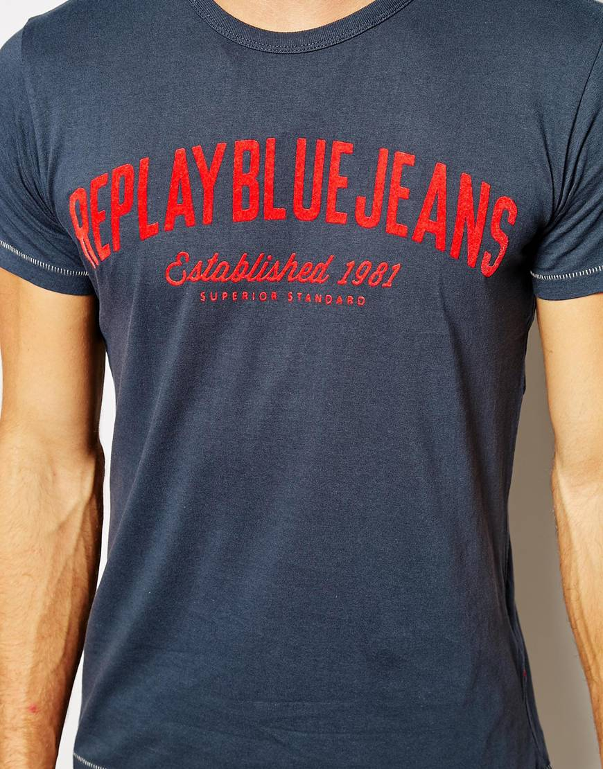 Replay T Shirt Blue Jeans Flock Logo In Blue For Men Lyst