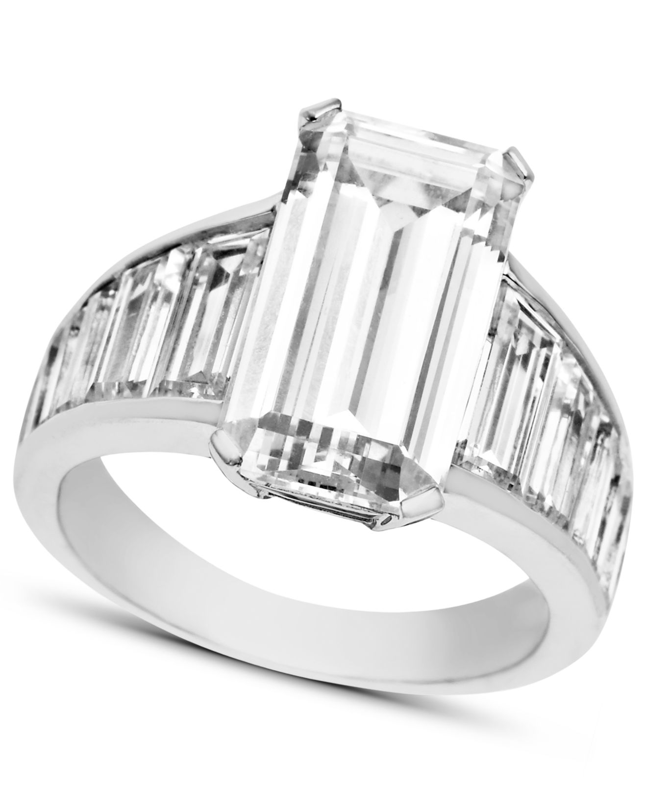 Lyst - Arabella Swarovski Zirconia Emerald-cut Ring (14-1 4 Ct. T.w. ... 432855b74c