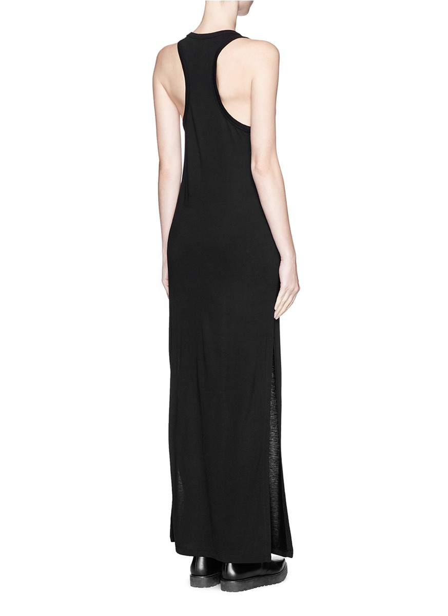 T by alexander wang Classic Racerback Maxi Dress in Black | Lyst