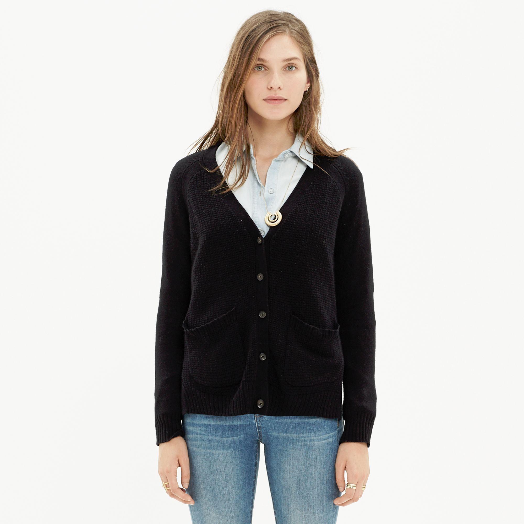 Madewell Texturework Cardigan in Black | Lyst