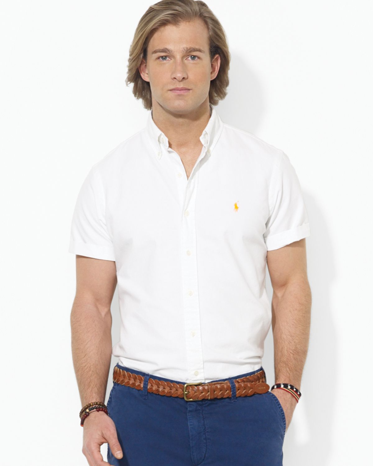 Ralph lauren Polo Short Sleeve Oxford Button Down Shirt - Regular Fit in White for Men | Lyst