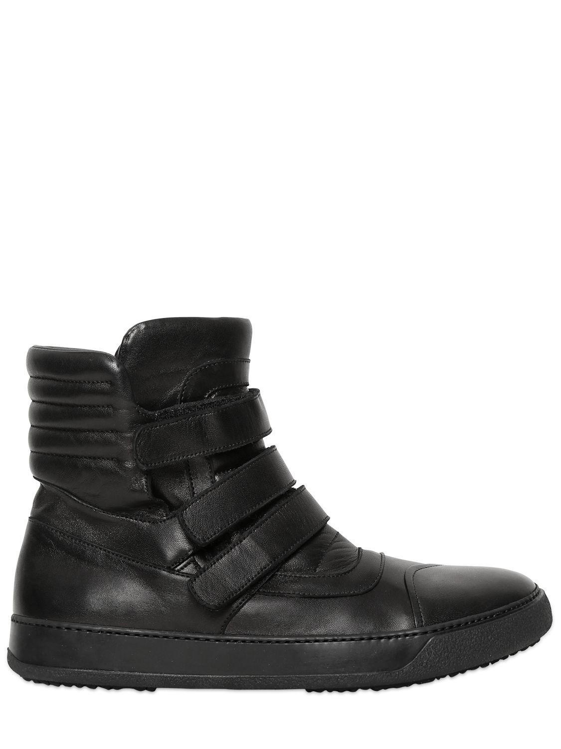 Bb Bruno Bordese Velcro Nappa Leather High Top Sneakers In