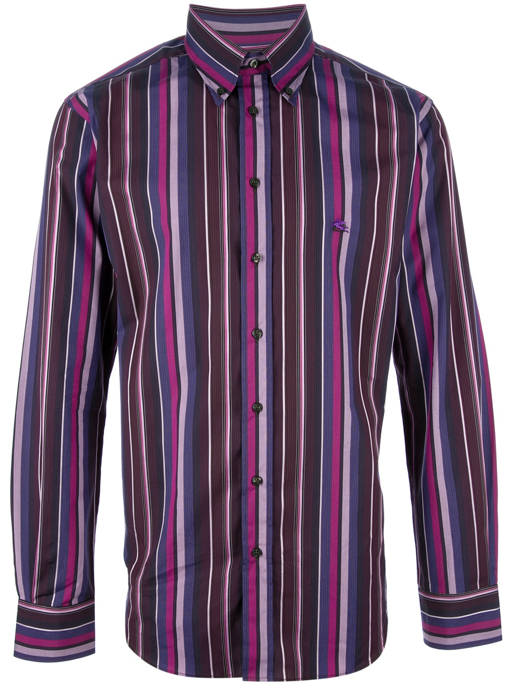 Etro striped shirt in purple for men lyst for Purple and black striped t shirt