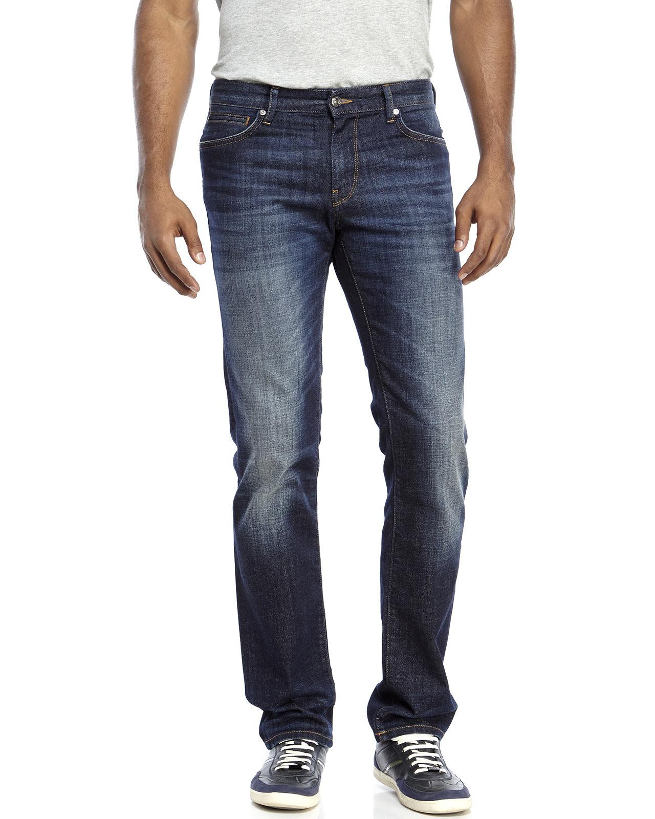 boss orange dark wash barcelona regular fit jeans in blue. Black Bedroom Furniture Sets. Home Design Ideas