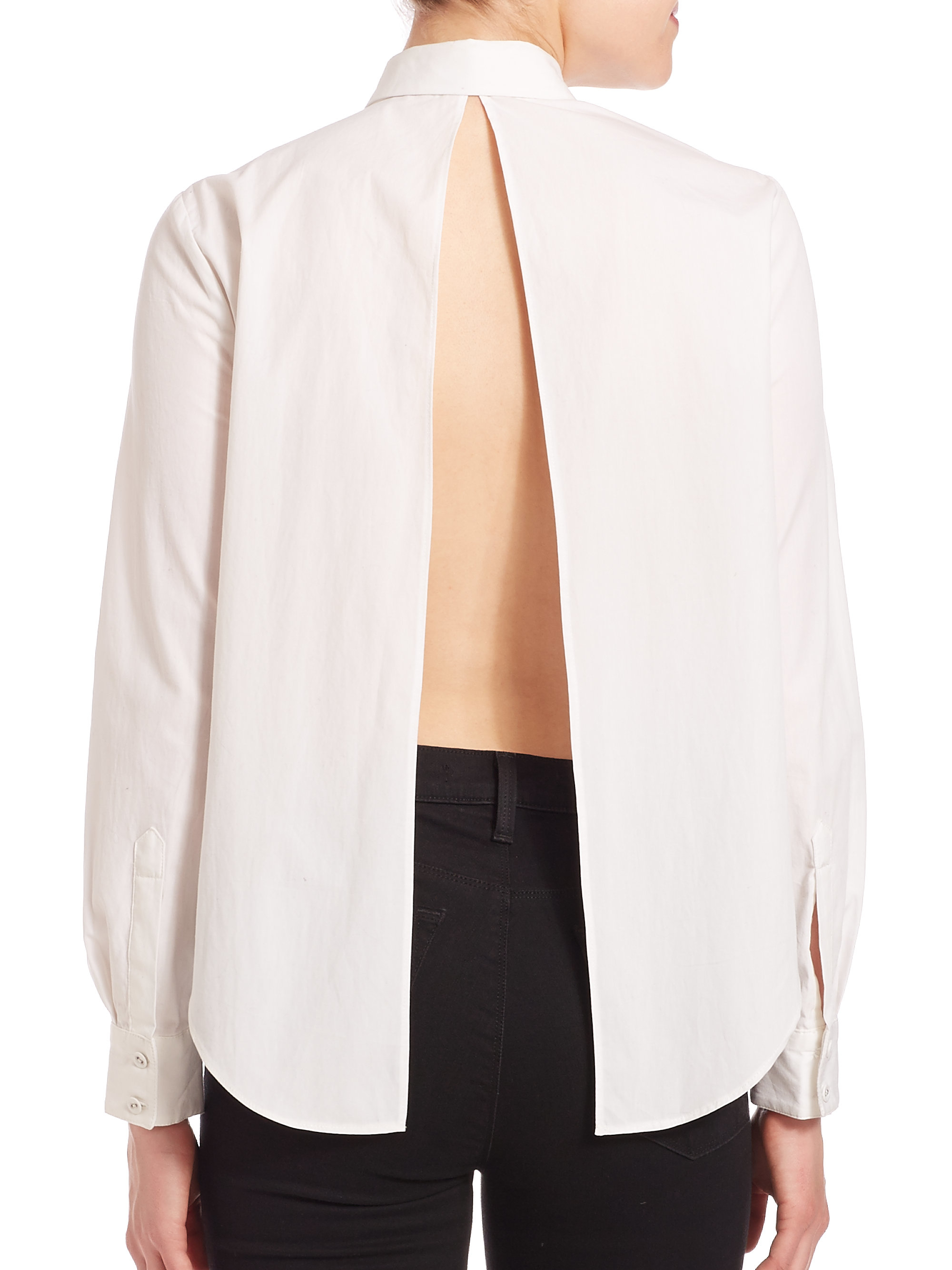 Kendall   kylie Solid Open-back Shirt in White | Lyst