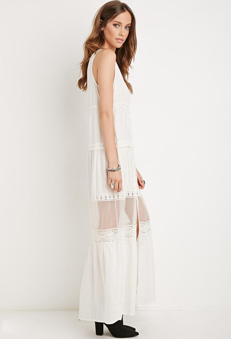 Crochet trim maxi dress