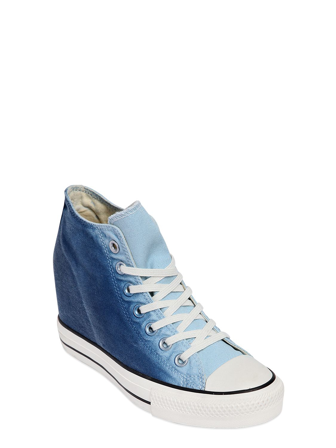 905ebdfc9bb283 Converse 80mm Star Mid Lux Denim Wedge Sneakers in Blue - Lyst
