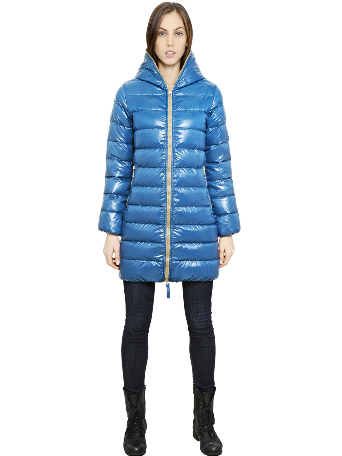 Duvetica Ace Hooded Shiny Nylon Down Jacket in Blue | Lyst