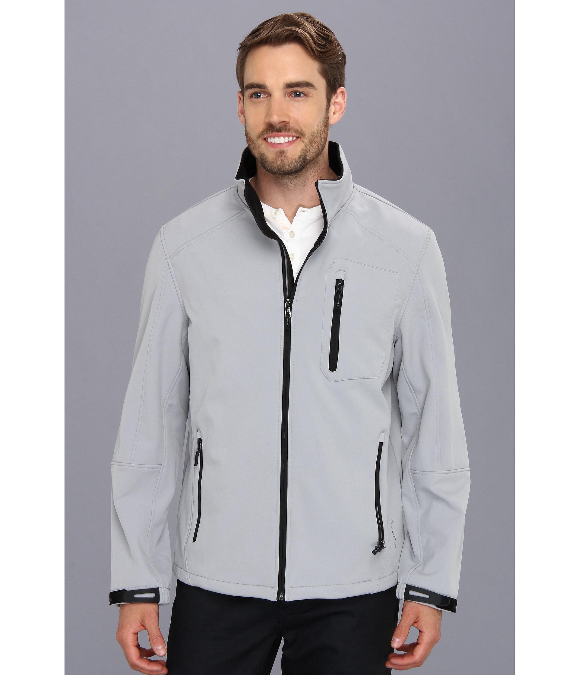 8ec6dec5ad7 Lyst - Calvin Klein Soft Shell Zip Front Jacket in Gray for Men