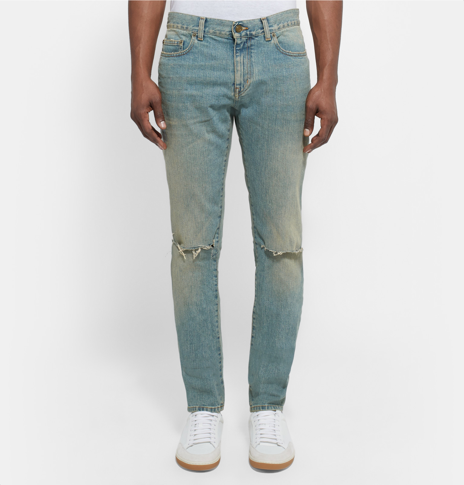 Skinny-fit 15cm Hem Distressed Stretch-denim Jeans Saint Laurent