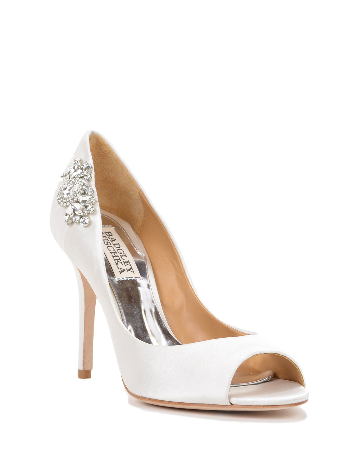 badgley mischka embellished satin evening shoe in
