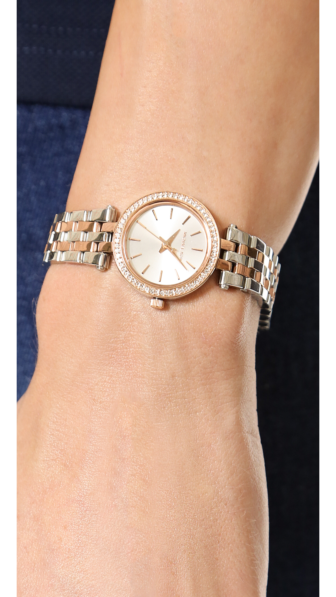 1e520452aced3 Lyst - Michael Kors Petite Darci Watch Rose Goldsilver in Pink
