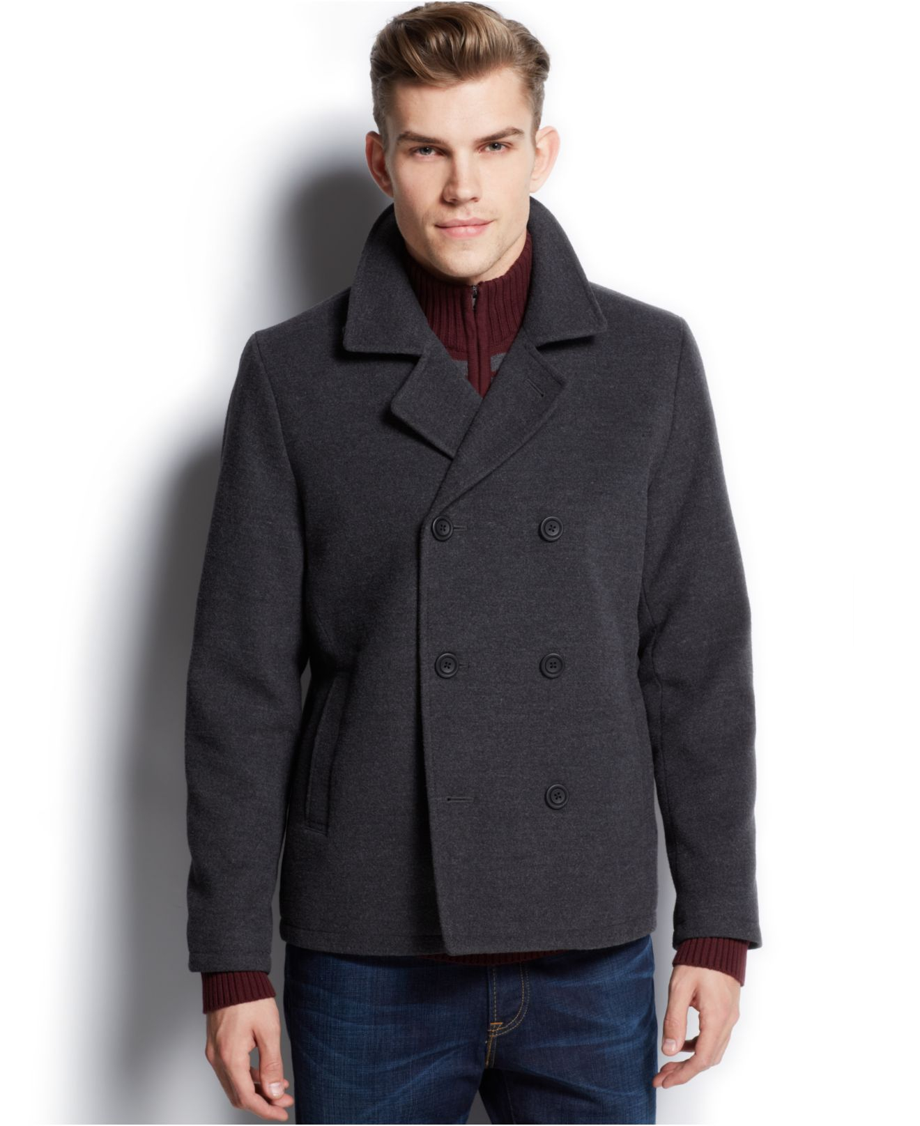 American rag Double-Breasted Pea Coat in Gray for Men | Lyst