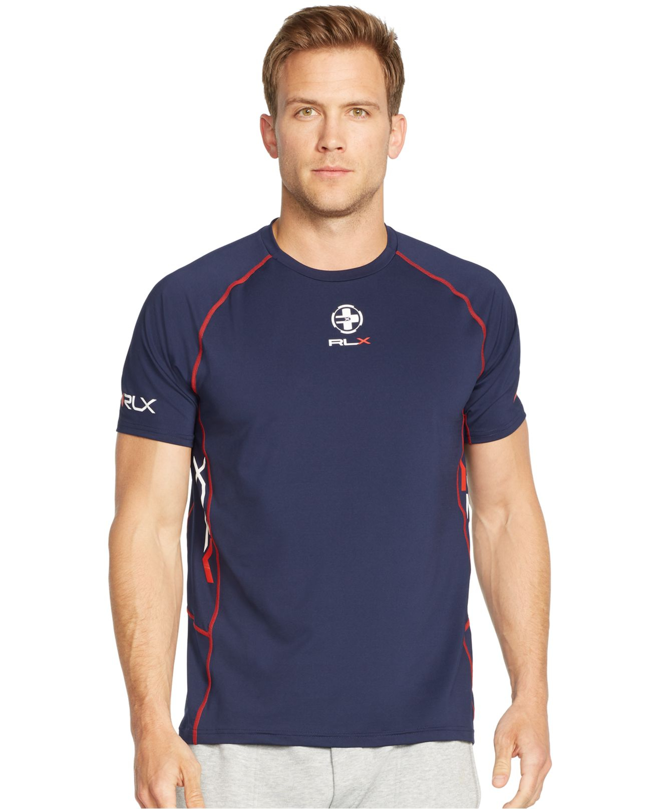 polo ralph lauren rlx active jersey t shirt in blue for. Black Bedroom Furniture Sets. Home Design Ideas
