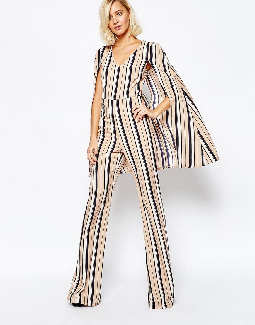 ef7be1102d4 Lyst - Lavish Alice 70 s Stripe Cape Jumpsuit - Multi