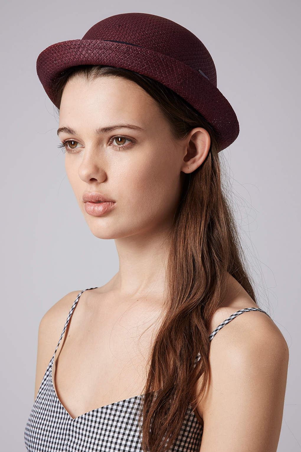 TOPSHOP Womens Box Band Bowler Hat in Red - Lyst 3bdf0de86ab