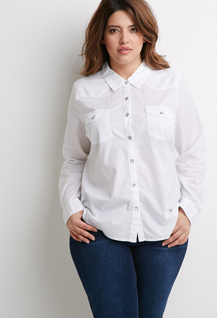 7a30610b5e Lyst - Forever 21 Plus Size Classic Two-pocket Shirt in White