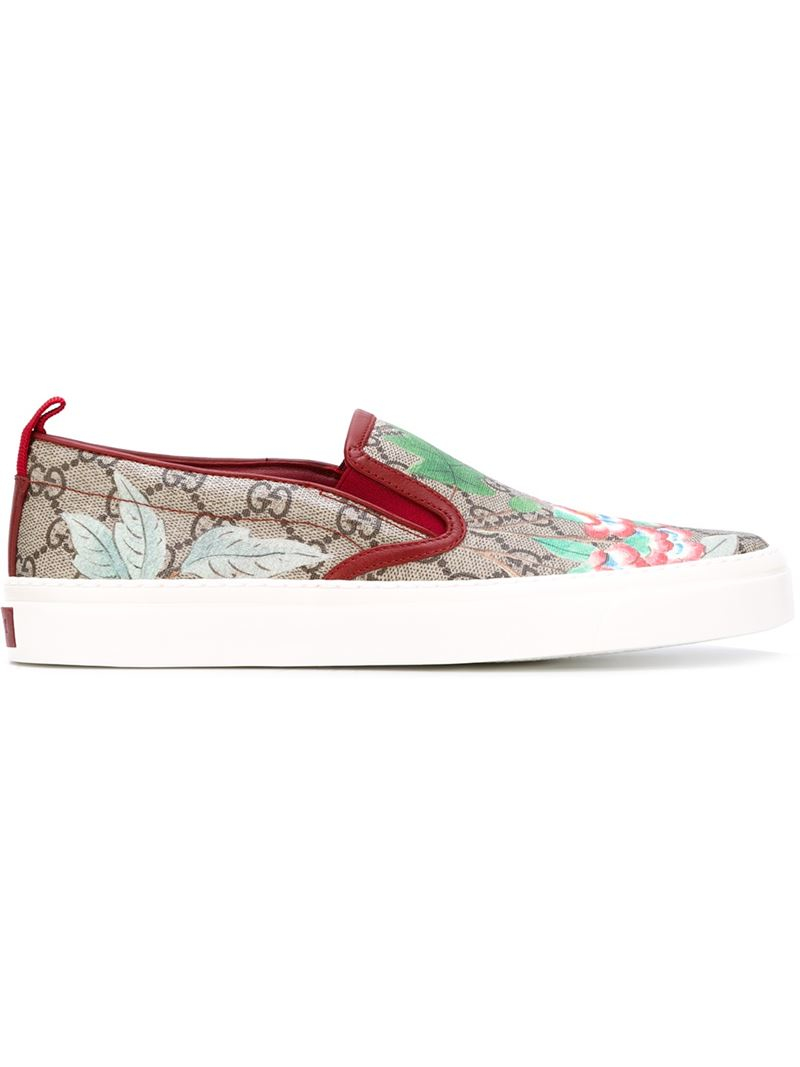 fe749a297502 Lyst - Gucci  tian  Floral Slip-on Sneakers for Men