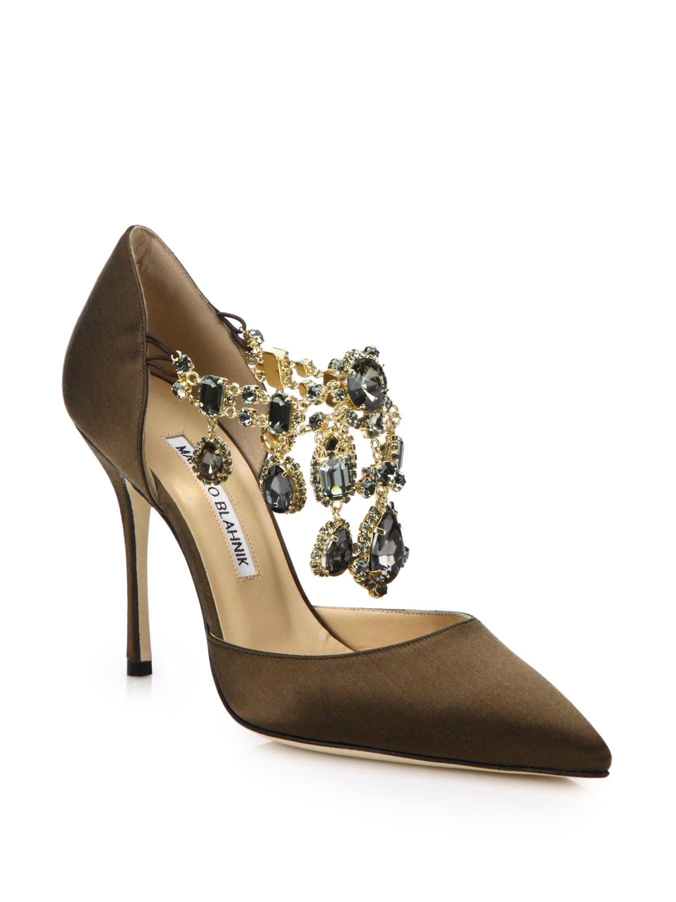 Manolo blahnik zullin satin jeweled d 39 orsay pumps in for Who is manolo blahnik