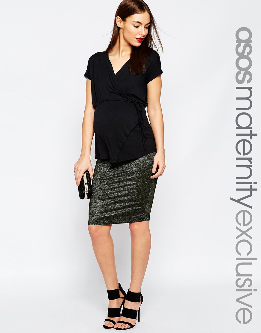 asos maternity gold sparkle midi pencil skirt in black lyst