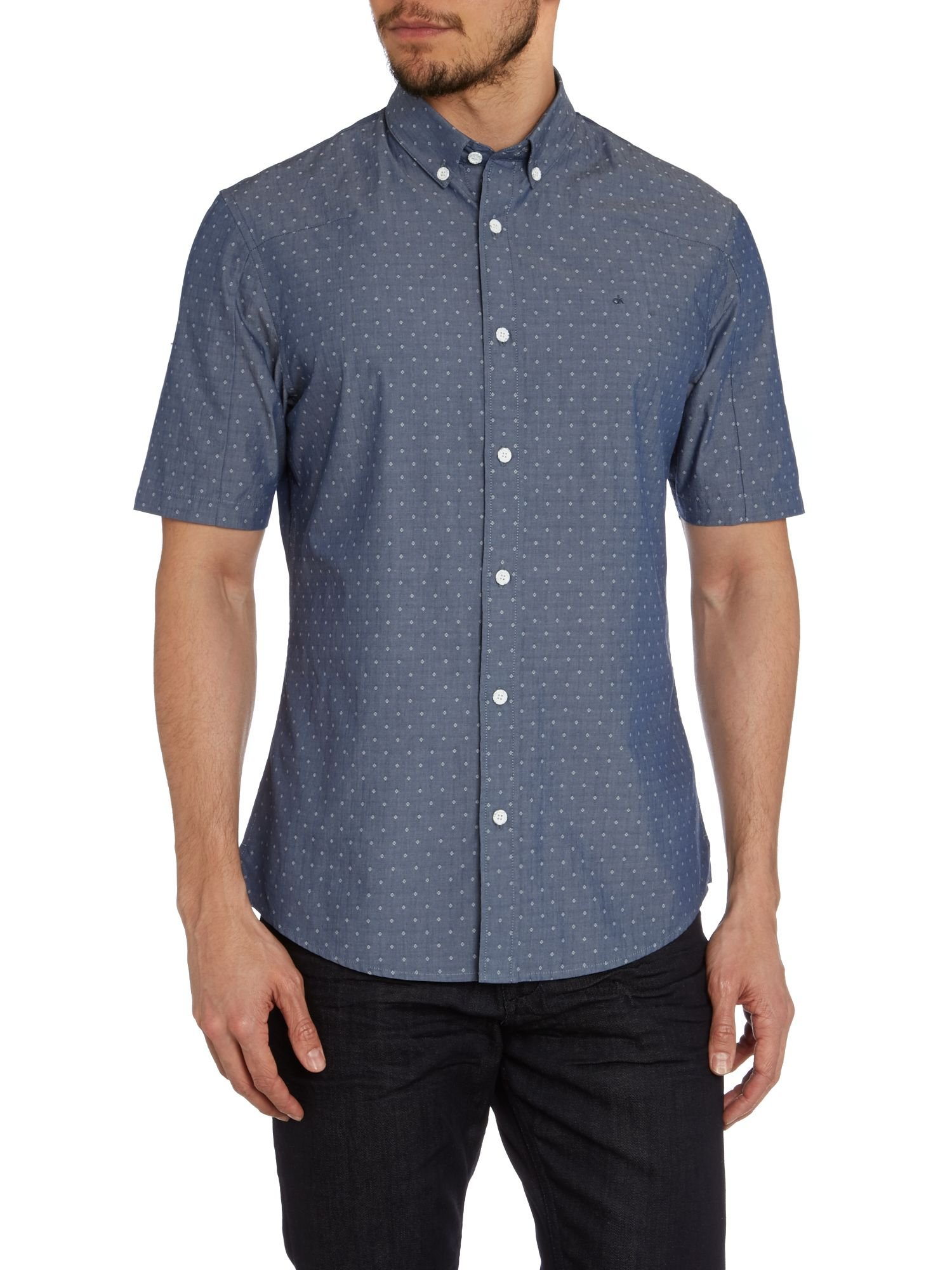Calvin klein wanbua short sleeve shirt in blue for men lyst for Athletic fit button down shirts