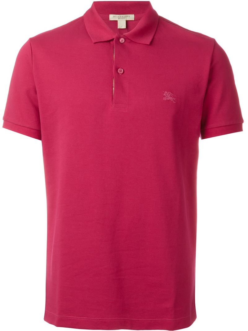 Lyst burberry brit embroidered logo polo shirt in pink for Work polo shirts embroidered