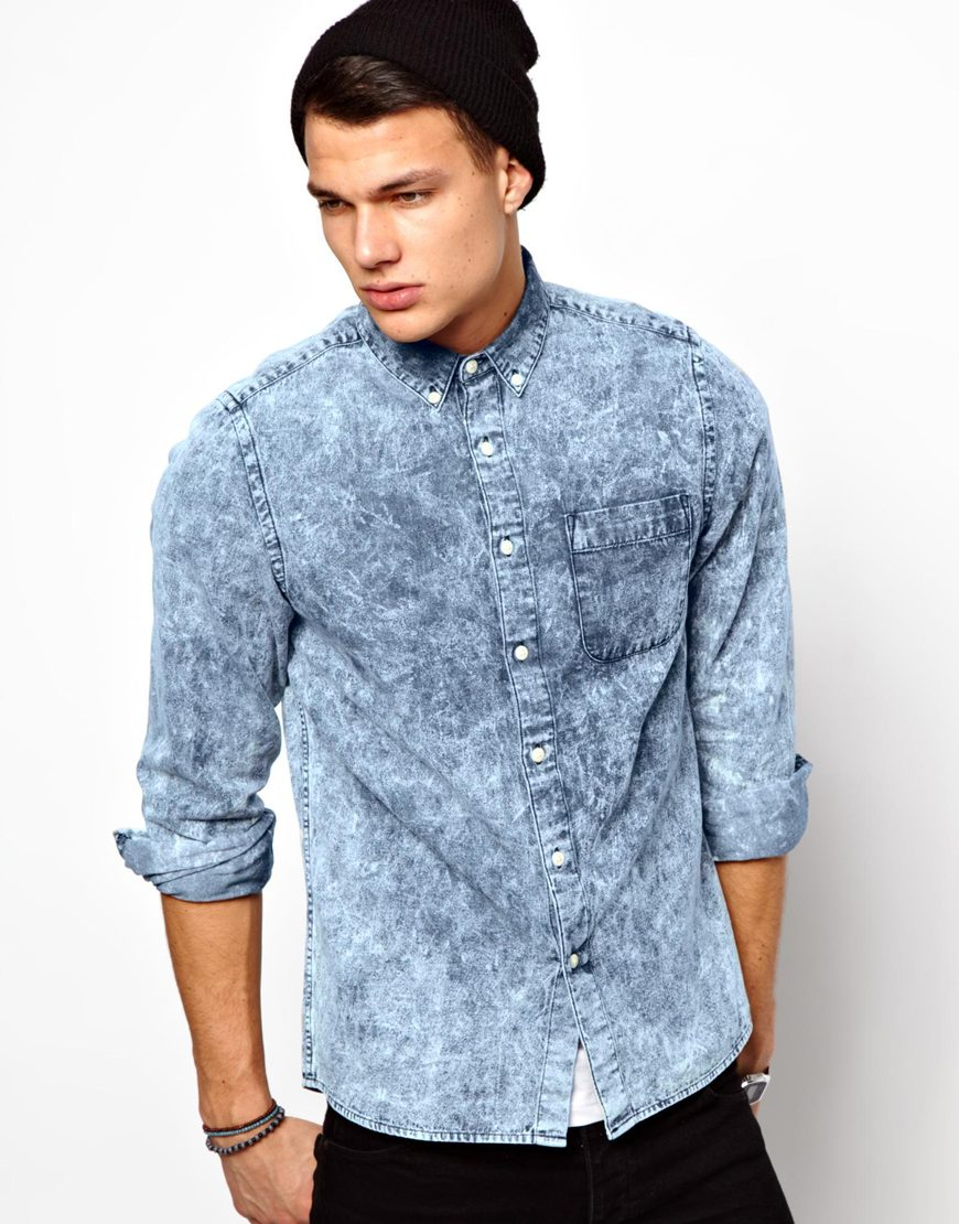 475f92ca173 Lyst - ASOS Denim Shirt In Long Sleeve With Acid Wash in Blue for Men