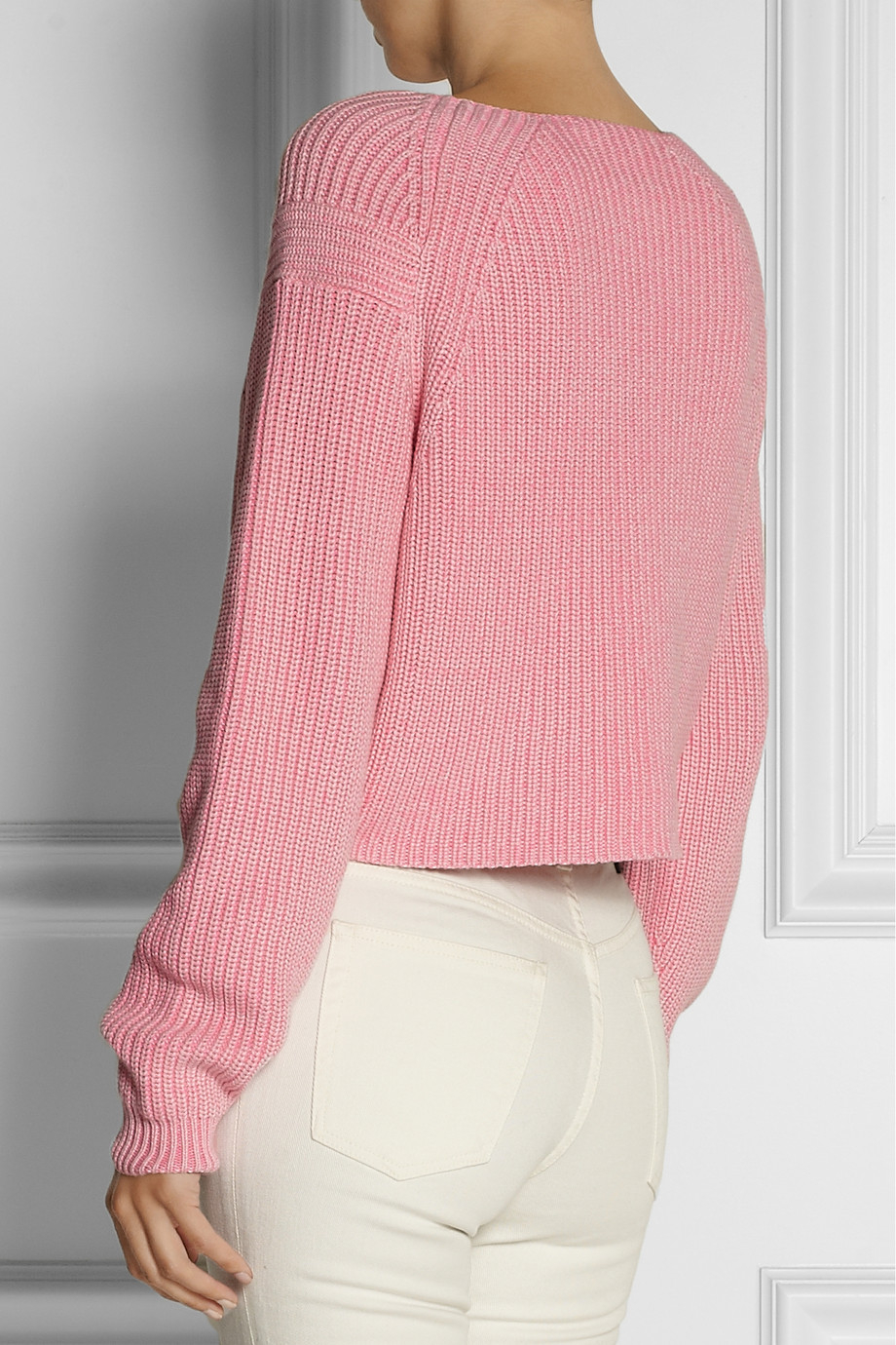 Tibi Ribbed-knit Cotton Sweater in Pink | Lyst