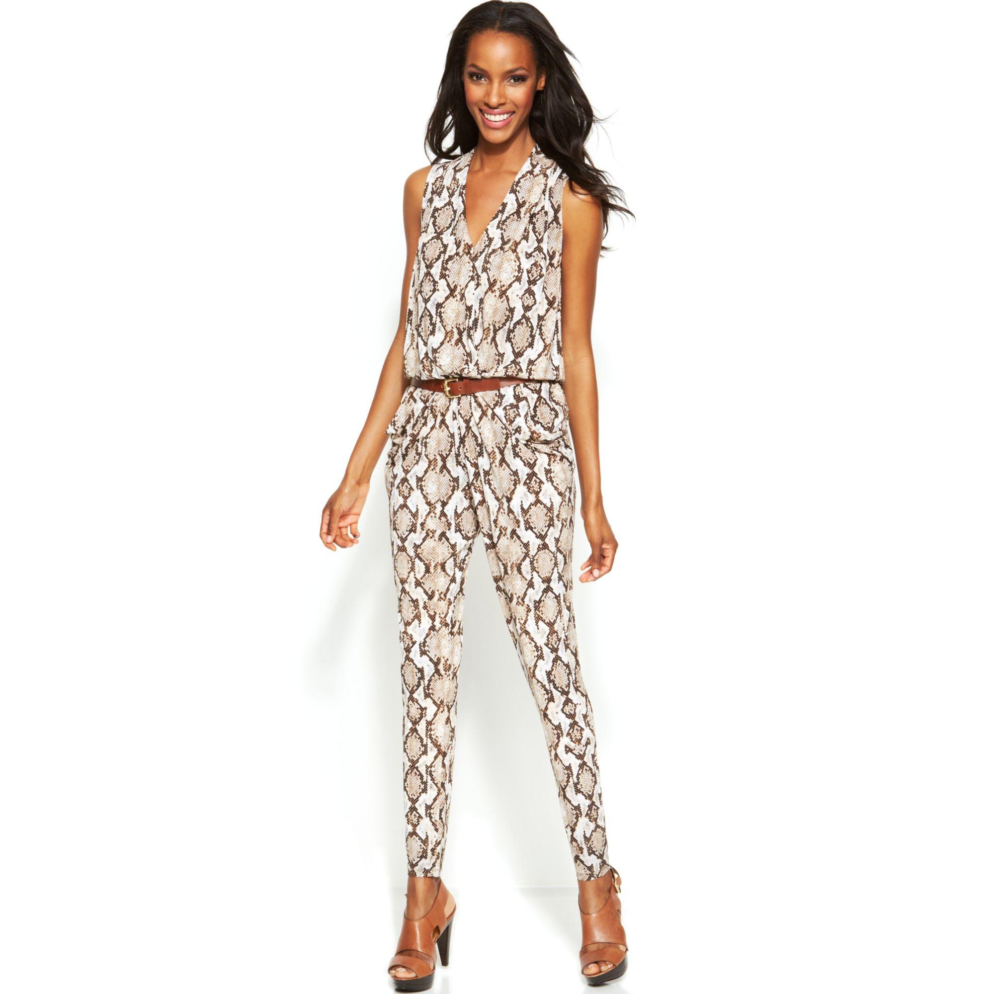 michael kors animal print belted jumpsuit in white caramel lyst. Black Bedroom Furniture Sets. Home Design Ideas
