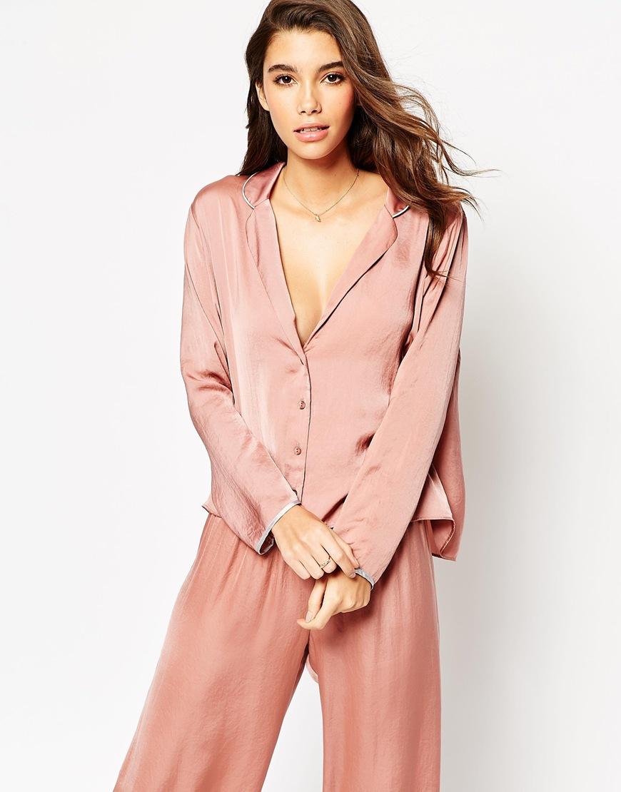 5cde8521da32 ASOS Moss Satin Piped Pyjama Top & Wide Leg Set in Pink - Lyst