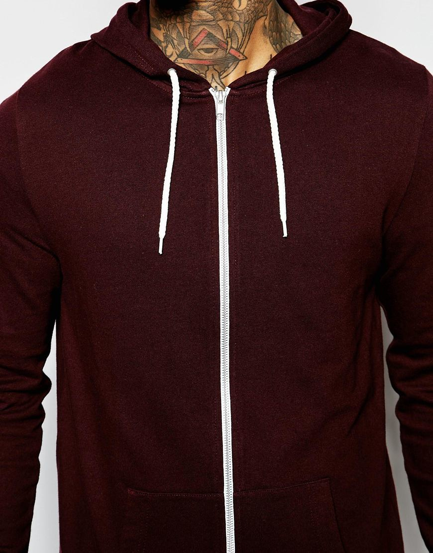 Asos Longline Zip Up Hoodie In Burgundy in Purple for Men | Lyst