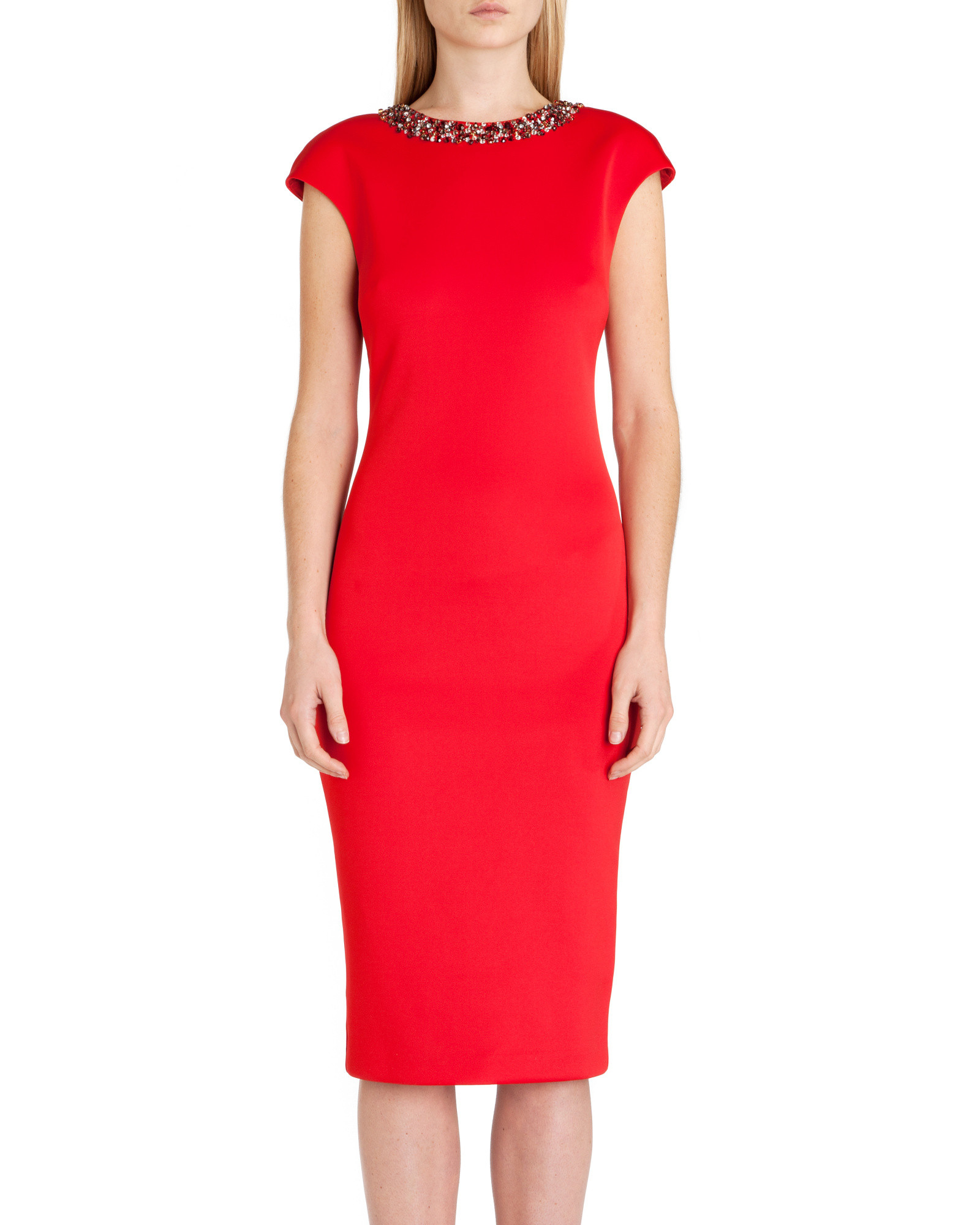 610a9b242 Lyst - Ted Baker Elenna Embellished Midi Dress in Red