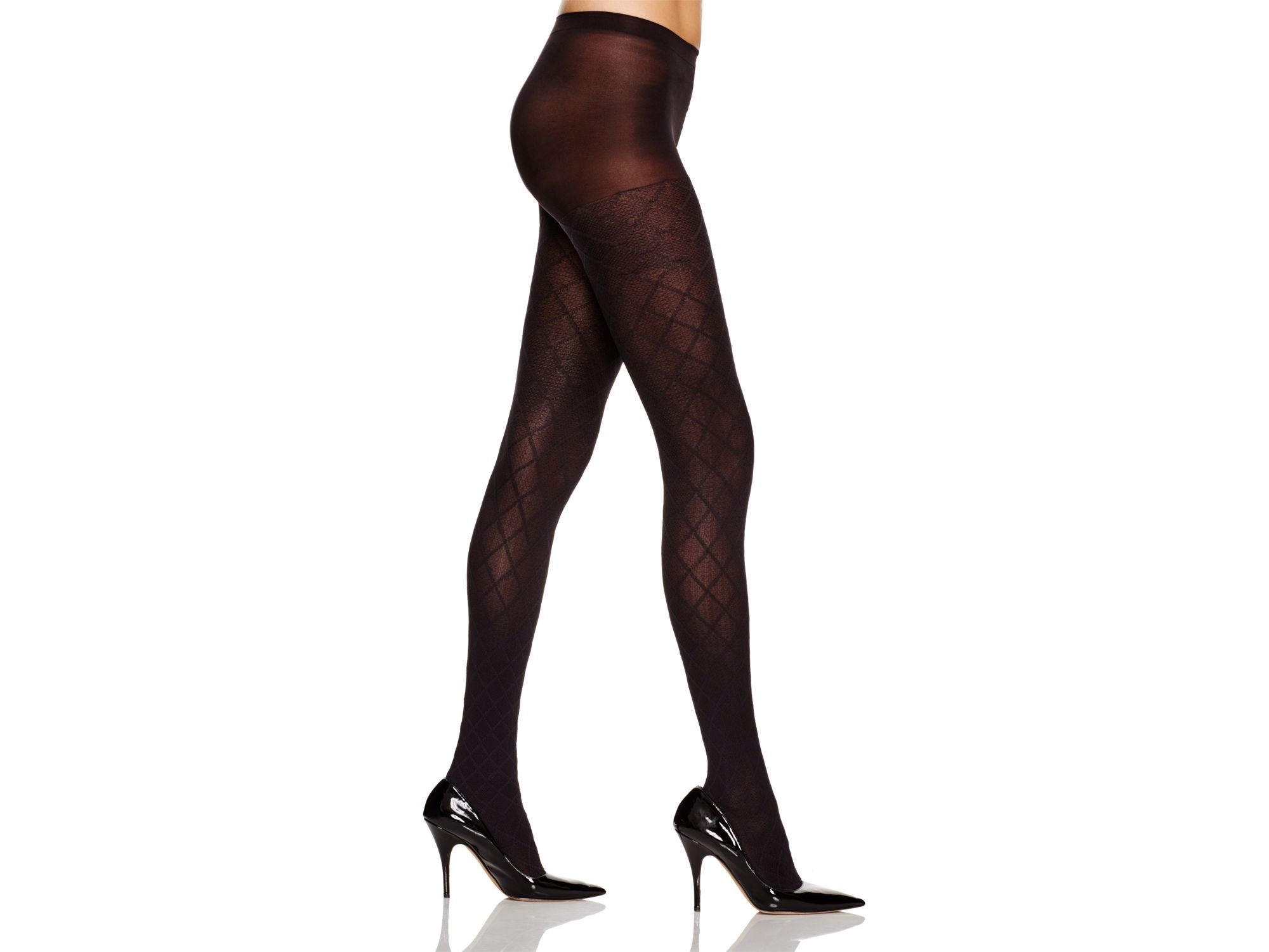 489c79aeff2 Hue Diamond Texture Control Top Tights in Black - Lyst