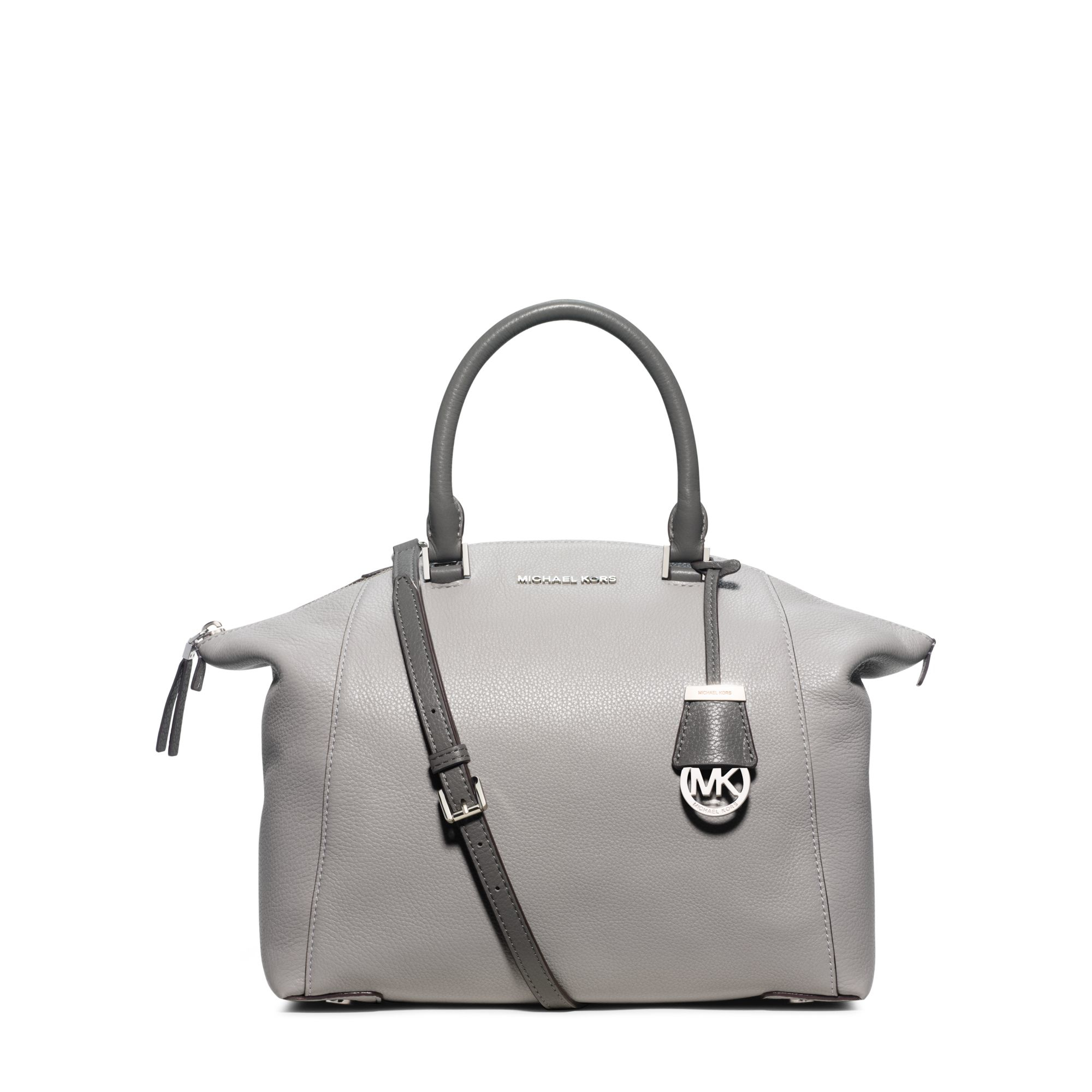 e3292b3980 Michael Kors Riley Large Leather Satchel in Gray - Lyst