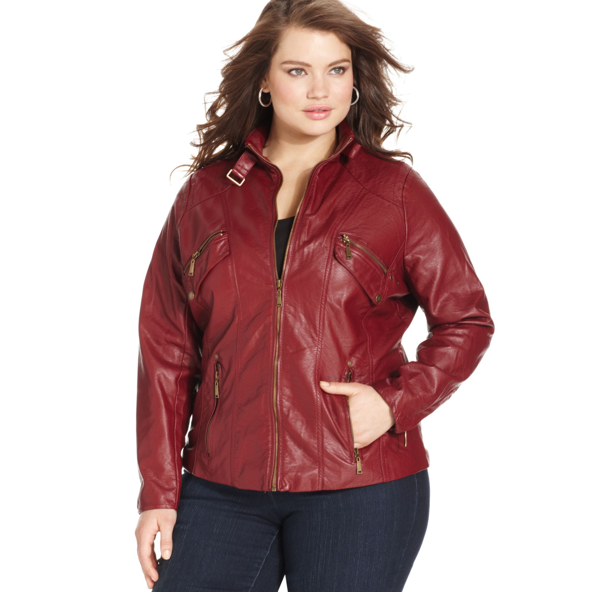 promotion new cheap latest discount Women's Red Plus Size Fauxleather Moto Jacket