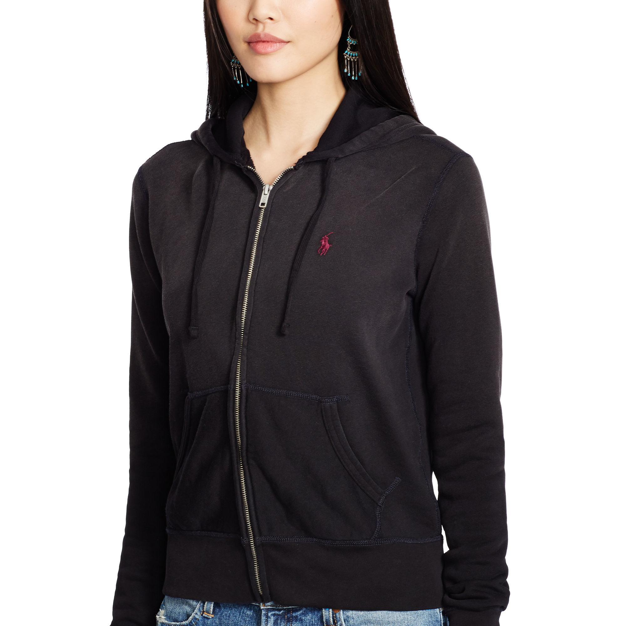polo ralph lauren pony full zip hoodie in black lyst. Black Bedroom Furniture Sets. Home Design Ideas
