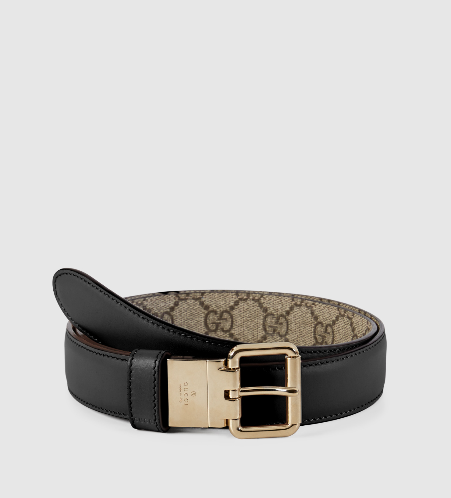 b9e69e222 Gucci Reversible Leather And Gg Supreme Belt in Black - Lyst