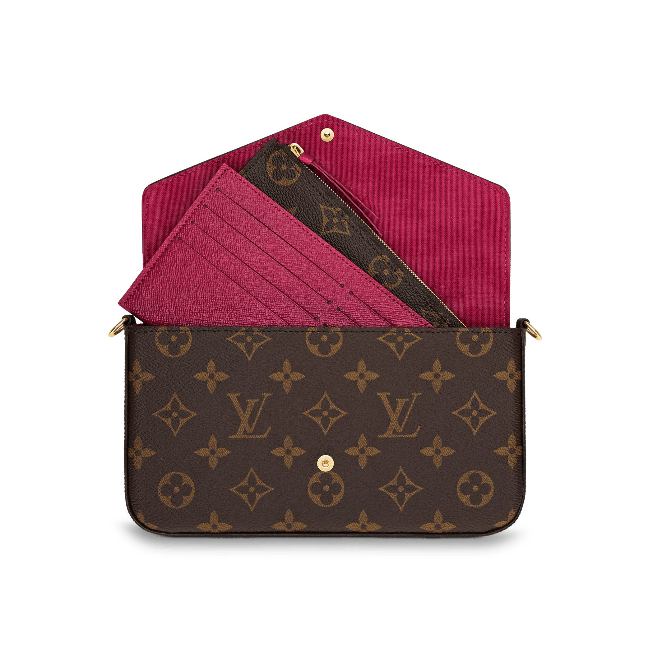Louis vuitton Felicie Chain Wallet in Brown | Lyst
