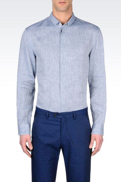 Armani button down linen shirt with snap fasteners in blue for Mens shirts with snaps instead of buttons