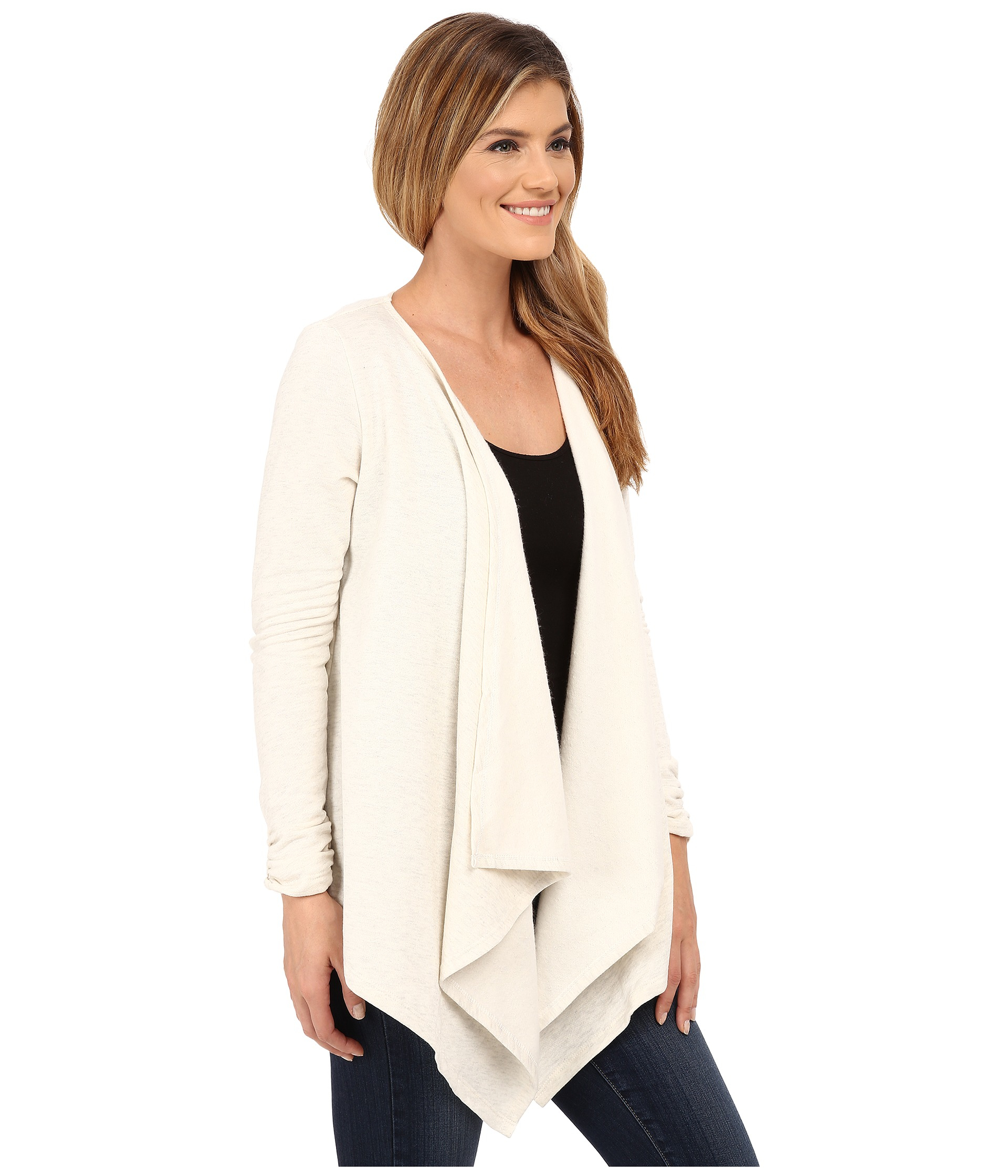 Bobeau Waterfall Fleece in White | Lyst