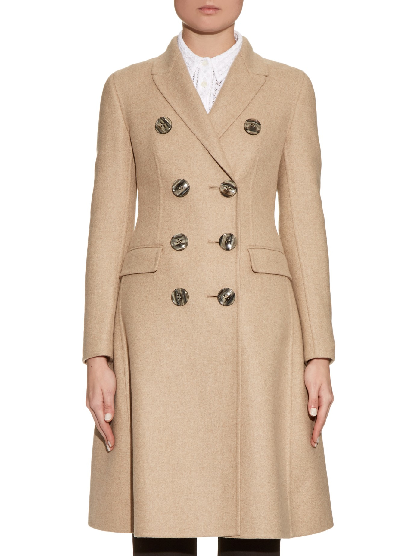 Burberry prorsum Double-breasted Cashmere Coat in Natural | Lyst