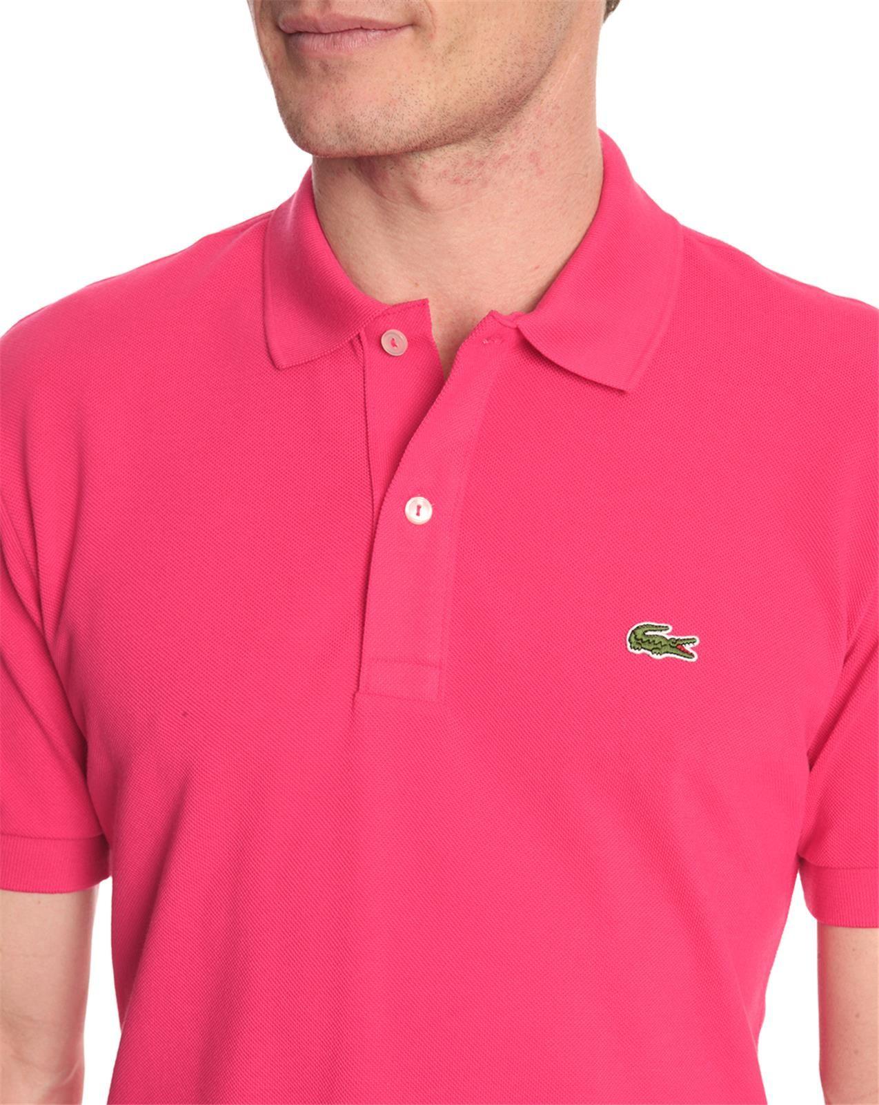 lacoste slim fit shortsleeved pink polo shirt in pink for men lyst. Black Bedroom Furniture Sets. Home Design Ideas