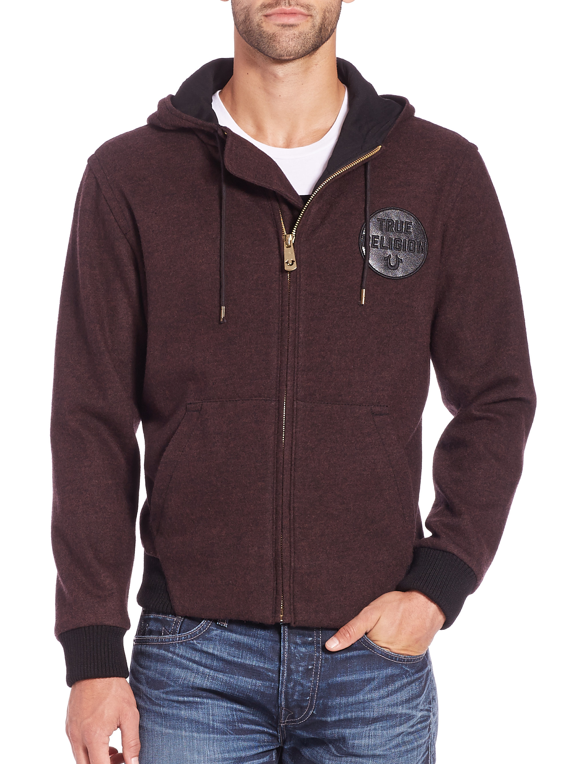 True religion Logo Patch Cotton Zip-front Hoodie in Red for Men | Lyst