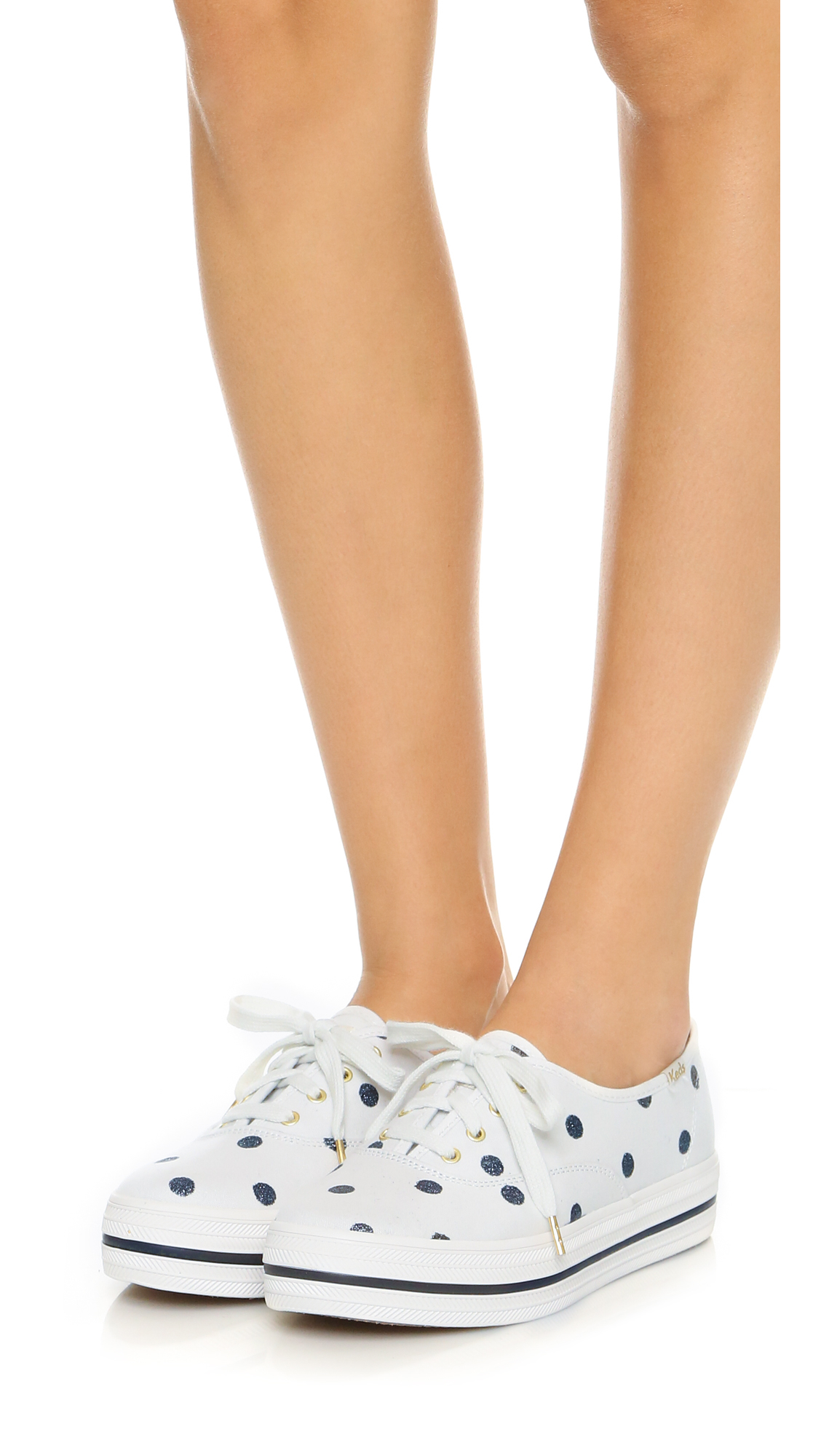 c800e7a1f3a9e0 Lyst - Kate Spade Keds For Kate Spade Triple Kick Dot Sneakers in Natural